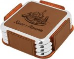Leatherette Square Coaster Set with Silver Edge -Dark Brown Boss Gift Awards