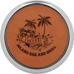 Leatherette Round Coaster with Silver Edge -Rawhide  Boss Gift Awards