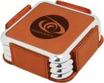 Leatherette Square Coaster Set with Silver Edge -Rawhide Boss Gift Awards